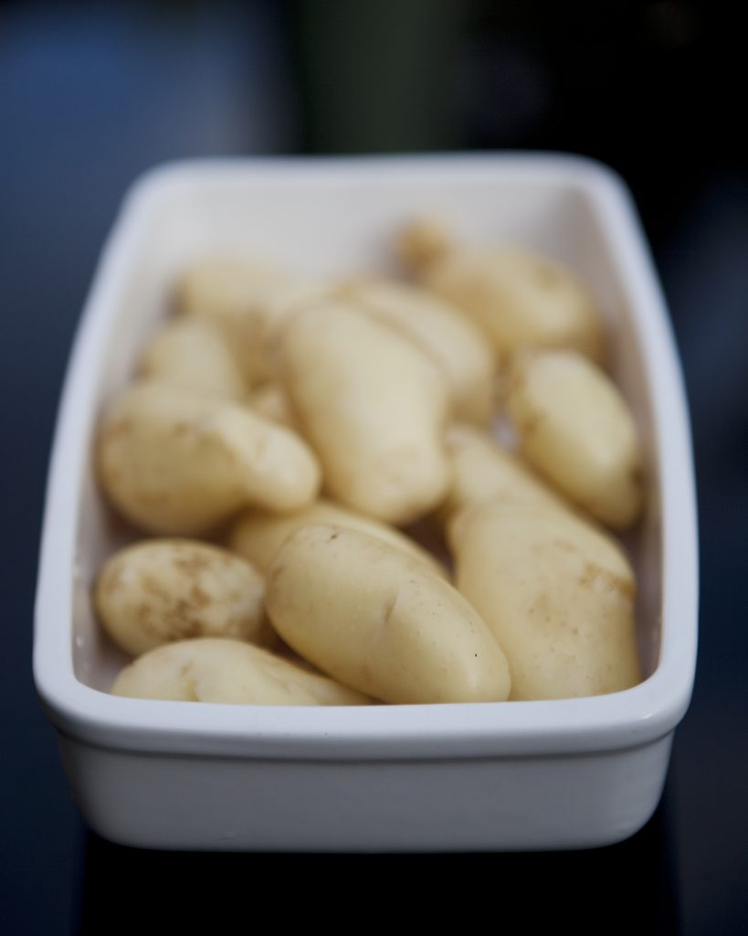 Foot photography - new potatoes