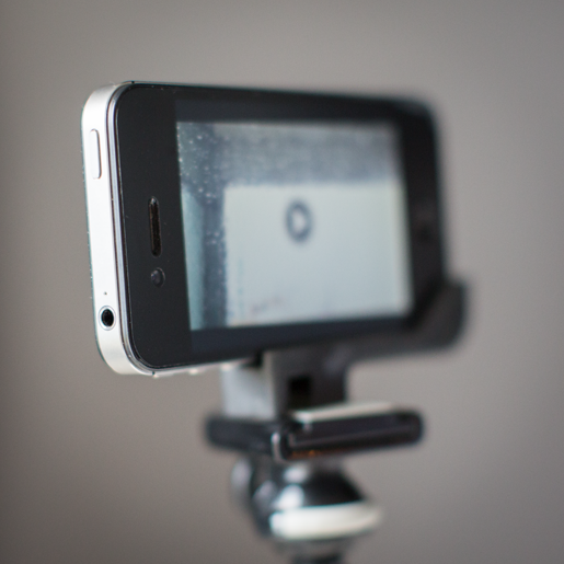 iPhone on tripod ready to playback video