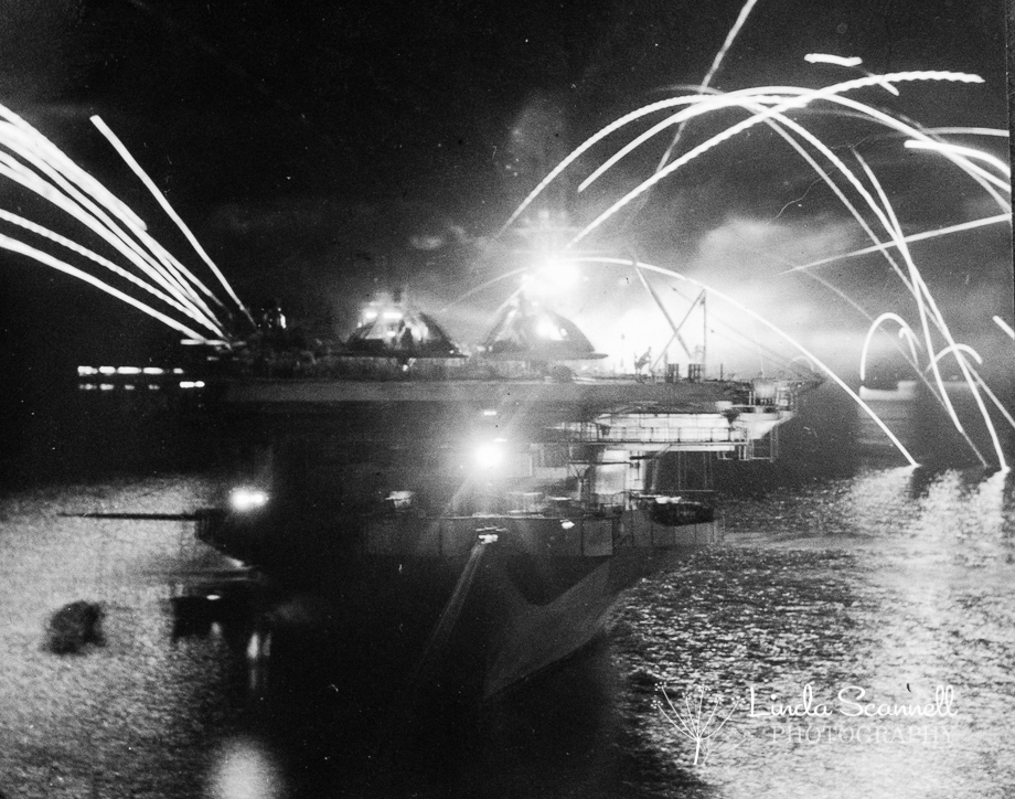 VJ Day 1945 Fireworks in Trincomalee Harbour, Sri Lanka