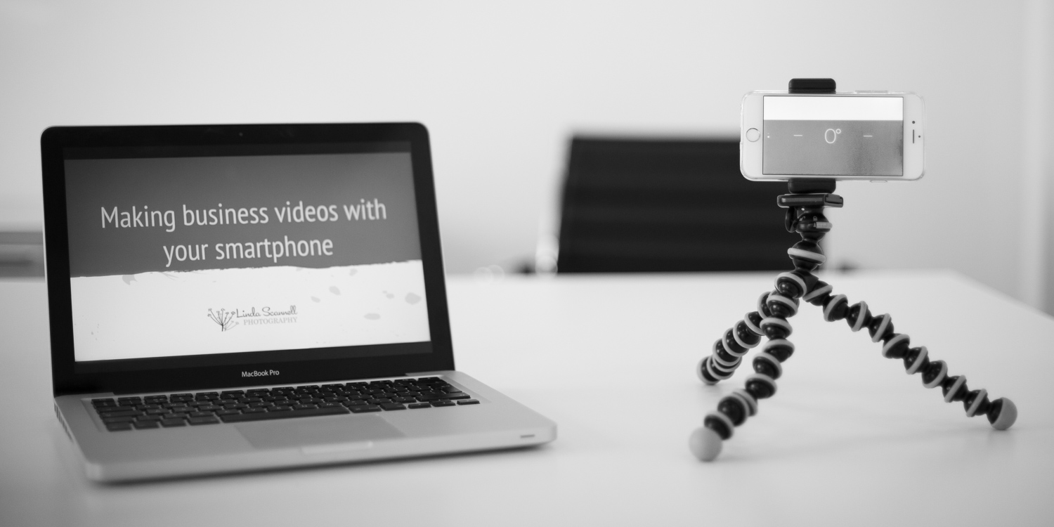 Macbook and iPhone on tripod | Video marketing with your phone course