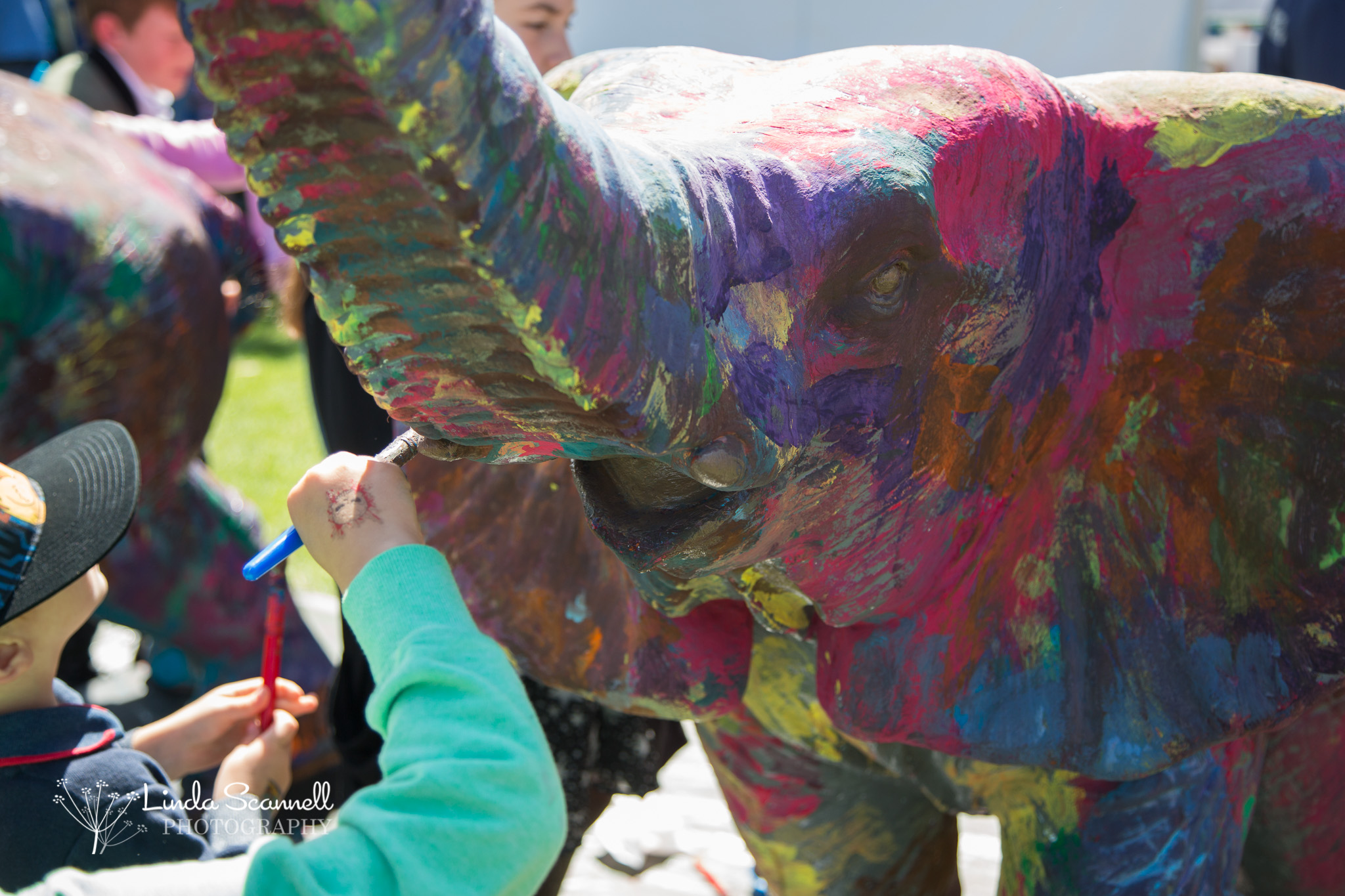 Close up of elephants being painted at Art in the Park 2017, Leamington Spa