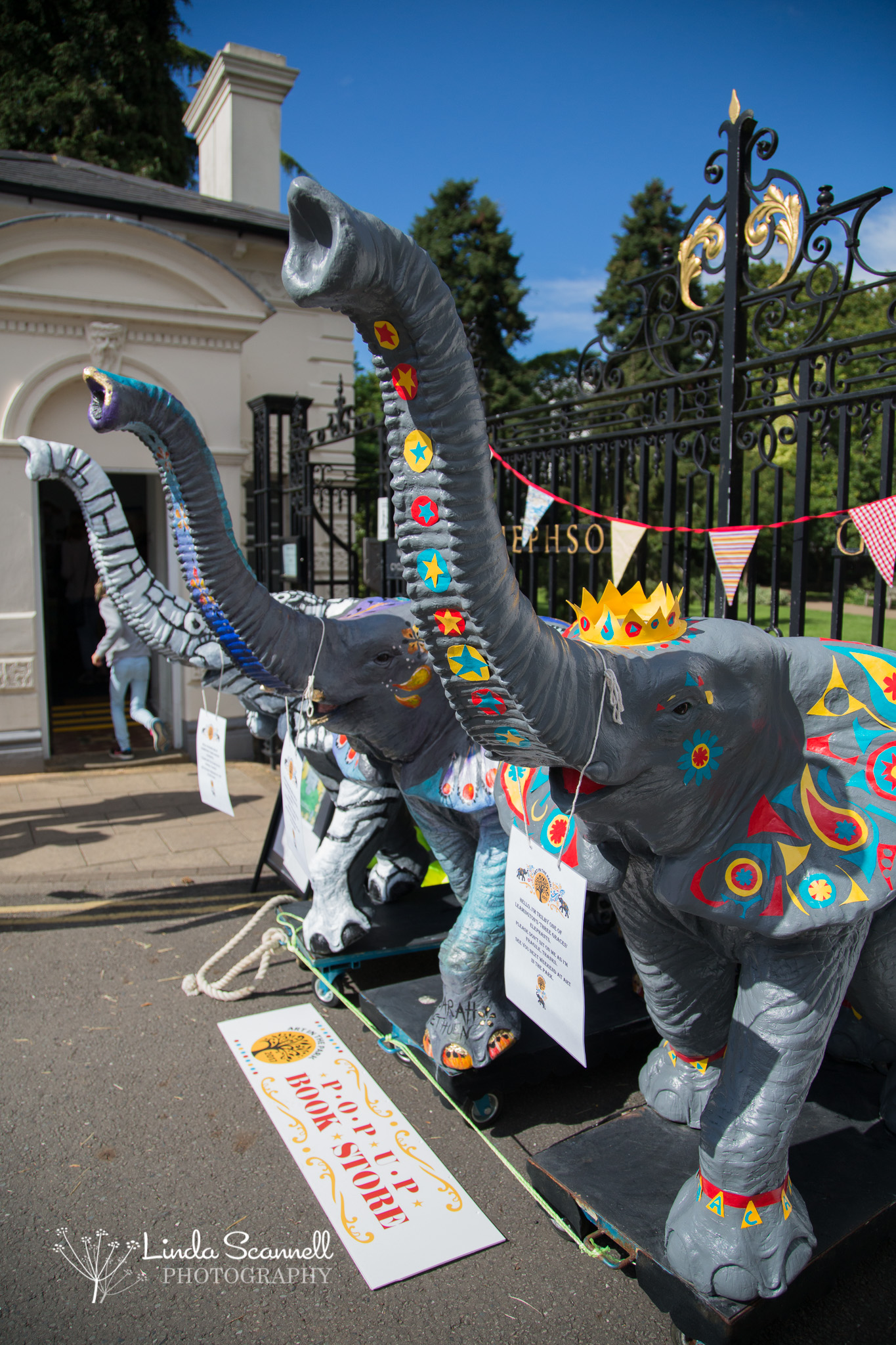Decorated elephants outside Art in the Park 2017
